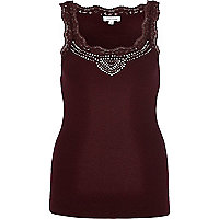 Dark red embellished lace trim vest