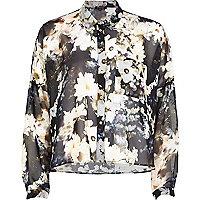 Black floral print boxy shirt