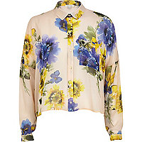 Cream floral boxy cropped shirt