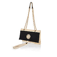 Cream color block chain strap bag
