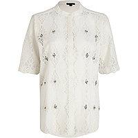 White embellished lace shirt