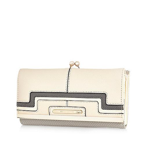 Cream colour block clip top purse