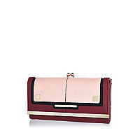 Dark pink colour block purse
