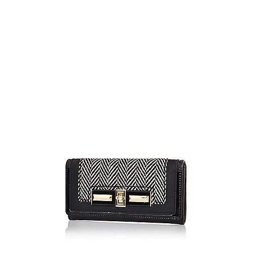 Black herringbone purse