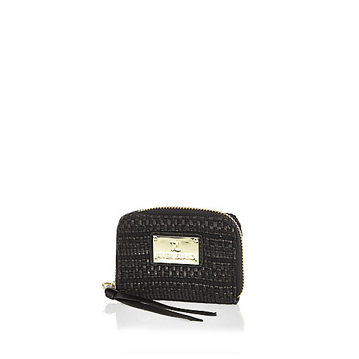 Black textured mini purse