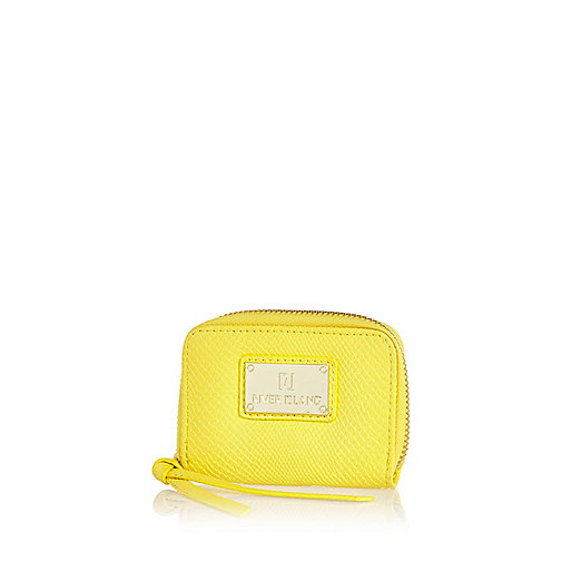 Yellow textured mini purse