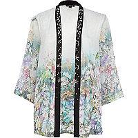 White tropical print embellished kimono