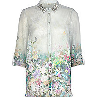 White tropical print embellished shirt