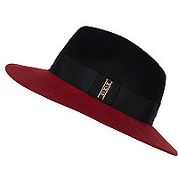 Red colour block fedora hat