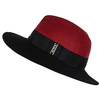 Black colour block fedora hat
