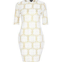 Gold floral bodycon dress