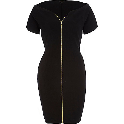 Black zip front bodycon dress