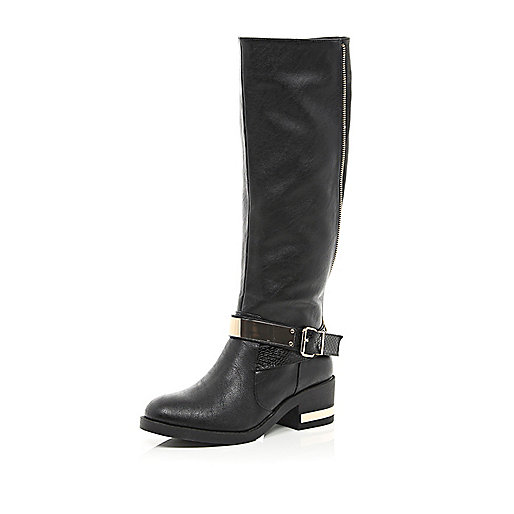 Black metal trim riding boots