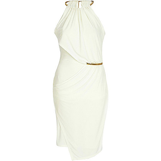 Cream necklace trim bodycon dress