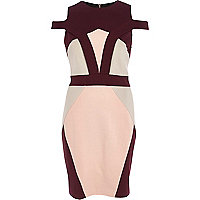 Dark red colour block pencil dress