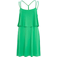 Bright green double layer strappy slip dress