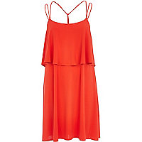 Red double layer strappy slip dress