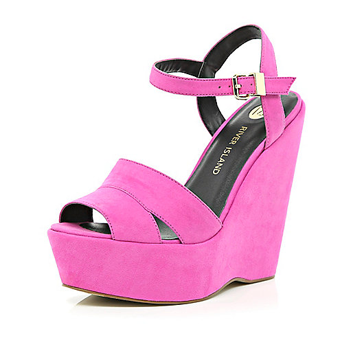 Bright pink wedge sandals