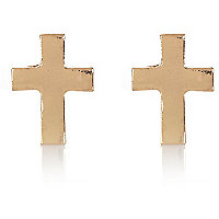 Gold tone cross stud earrings