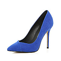 Blue snake contrast toe cap point court shoes