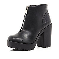 Black zip front block heel ankle boots