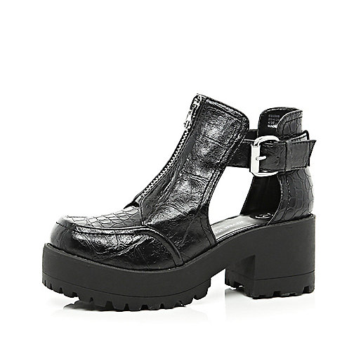 Black patent croc chunky cut out boots