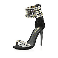 Black bracelet trim barely there sandals