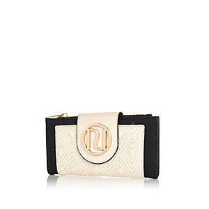 Cream quilted tab top purse