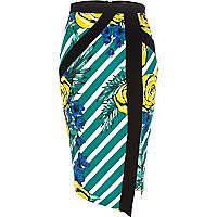 Green striped floral print wrap pencil skirt