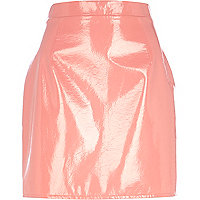 Pink high shine leather-look mini skirt