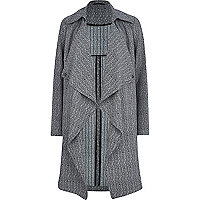 Grey herringbone trench coat