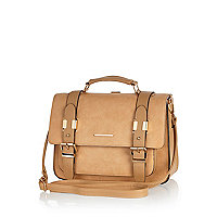 Tan satchel backpack