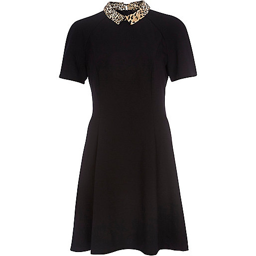 Black leopard collar fit and flare dress