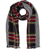 Navy tartan reversible blanket scarf