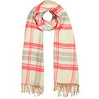 Fluro pink tartan blanket scarf
