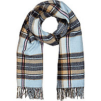 Light blue tartan blanket scarf