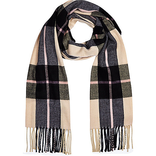 Pink tartan blanket scarf