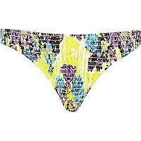 Yellow floral shirred bikini bottoms