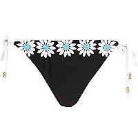 Black 3D flower embellished bikini bottoms