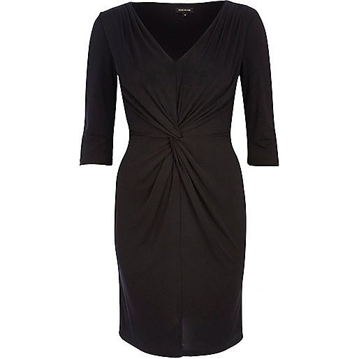 Black twist front V neck bodycon dress