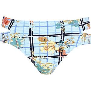Blue floral check print bikini bottoms