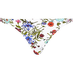 White floral print knot side bikini bottoms