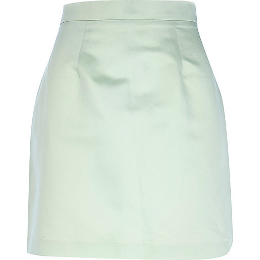 Light green high shine satin mini skirt