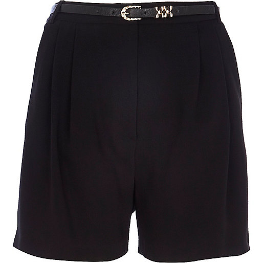 Black smart long shorts