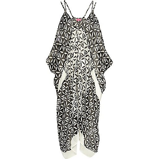 Black geometric print cocoon maxi dress
