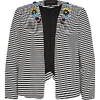 Black and white stripe embellished jacket