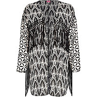Black and white mixed print fringed kimono