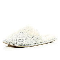 Silver foil mule slippers