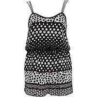 Black spot print cami playsuit