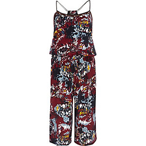 Dark red fern print casual jumpsuit
